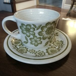 """J&G Meakin """"Floral Dance"""" Studio Stone cup/saucer"""